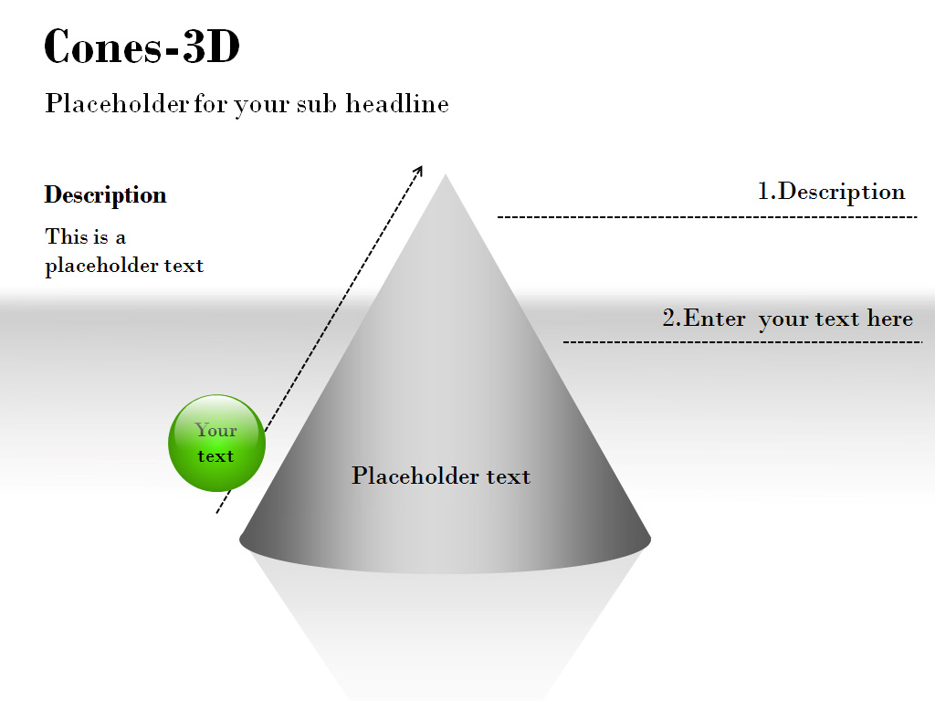Cones 3D PowerPoint Charts and Diagrams presentation