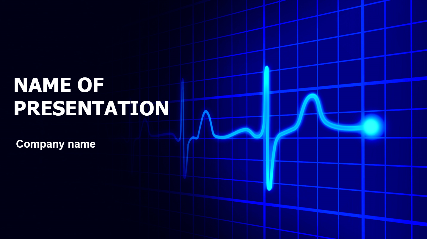 Blue Cardiograma powerpoint template presentation