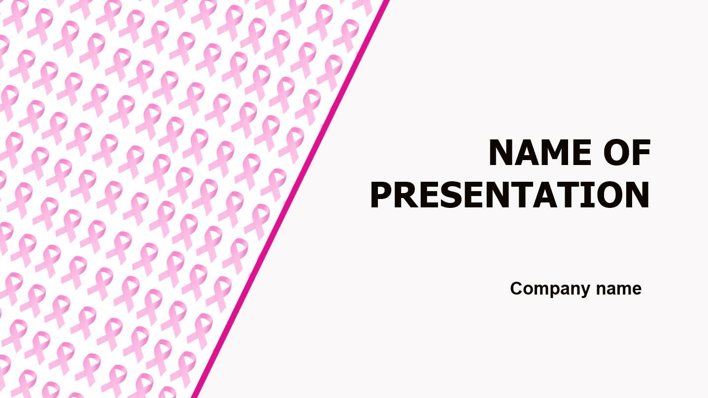 Small Pink Ribbons powerpoint template presentation