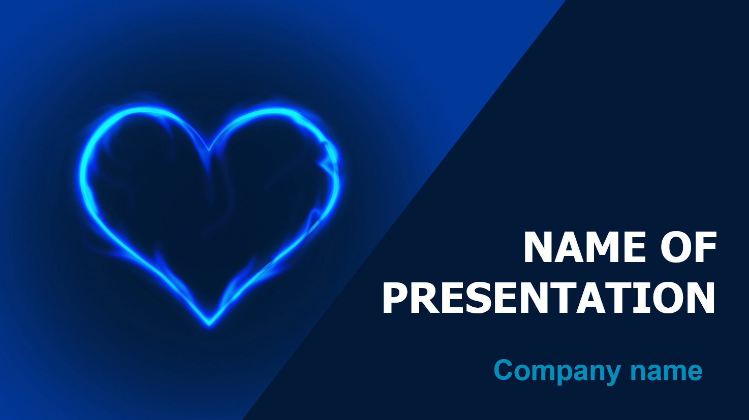 Blue Love powerpoint template presentation